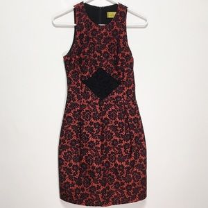 New! Nicole Miller Sleeveless Red Lace Dress